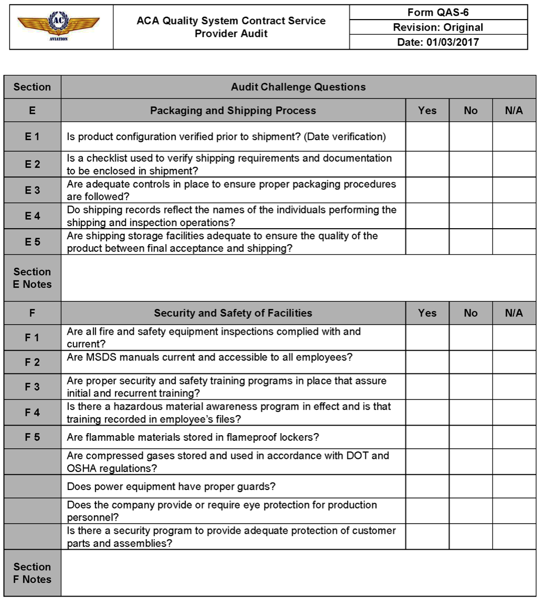 Sample forms ac aviation documentation 1 0 documentation for Cctv checklist template