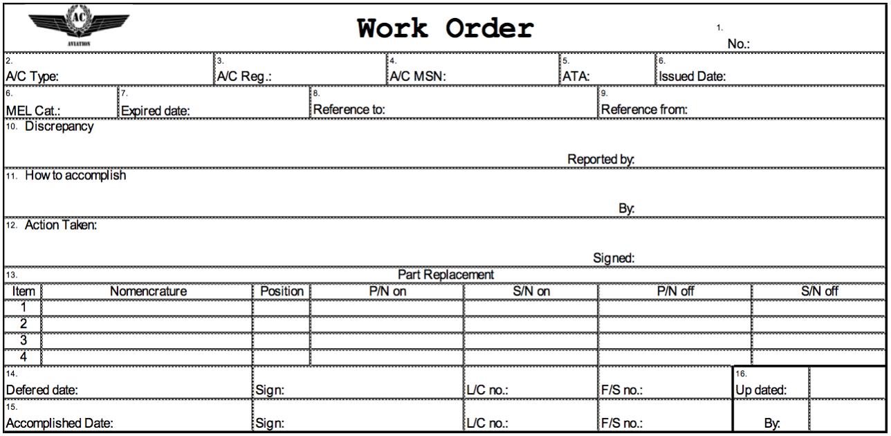 Work Order Ac Aviation Documentation 1 0 Documentation